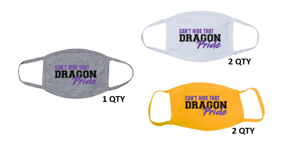 Fall PTO '20 - Adult 3-Ply 100% Cotton Mask Pack 5 QTY (Dragon Pride)