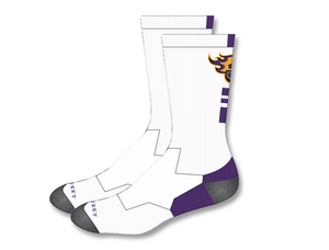JCSD - White Crew Length Fire J Socks (Youth & Adult)