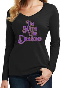 JCSD - I'm with the Dragons Ladies Long Sleeve V-neck Tee in Multiple Colors (ladies)