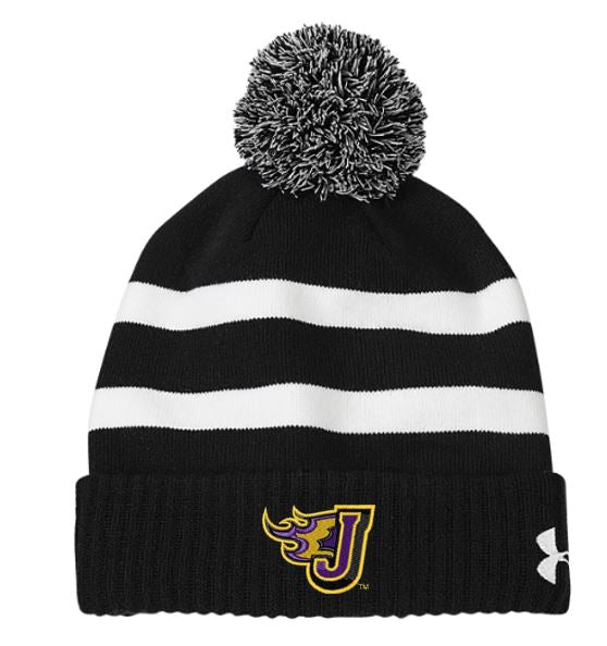 Winter PTO 19 - Fire-J Under Armour Black/White Pom Beanie