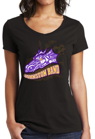 Johnston Band (Winter 2020) - Ladies V-Neck Tee in Multiple Colors (Head Design)