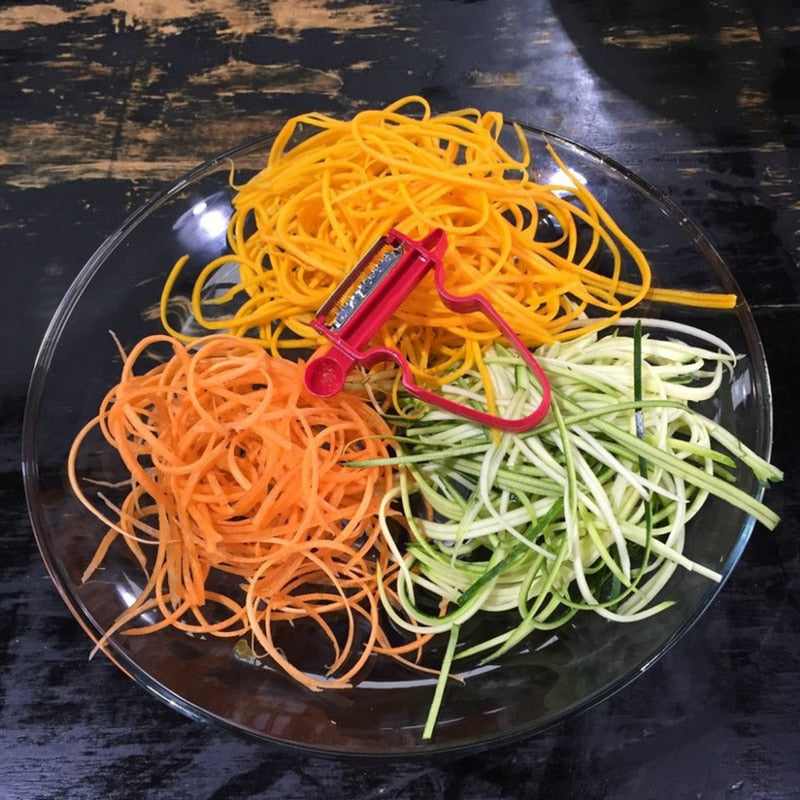 Make beautiful decorative julienne strips for a salad or as a side dish