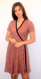 Old Rose Pleated Wrap Dress