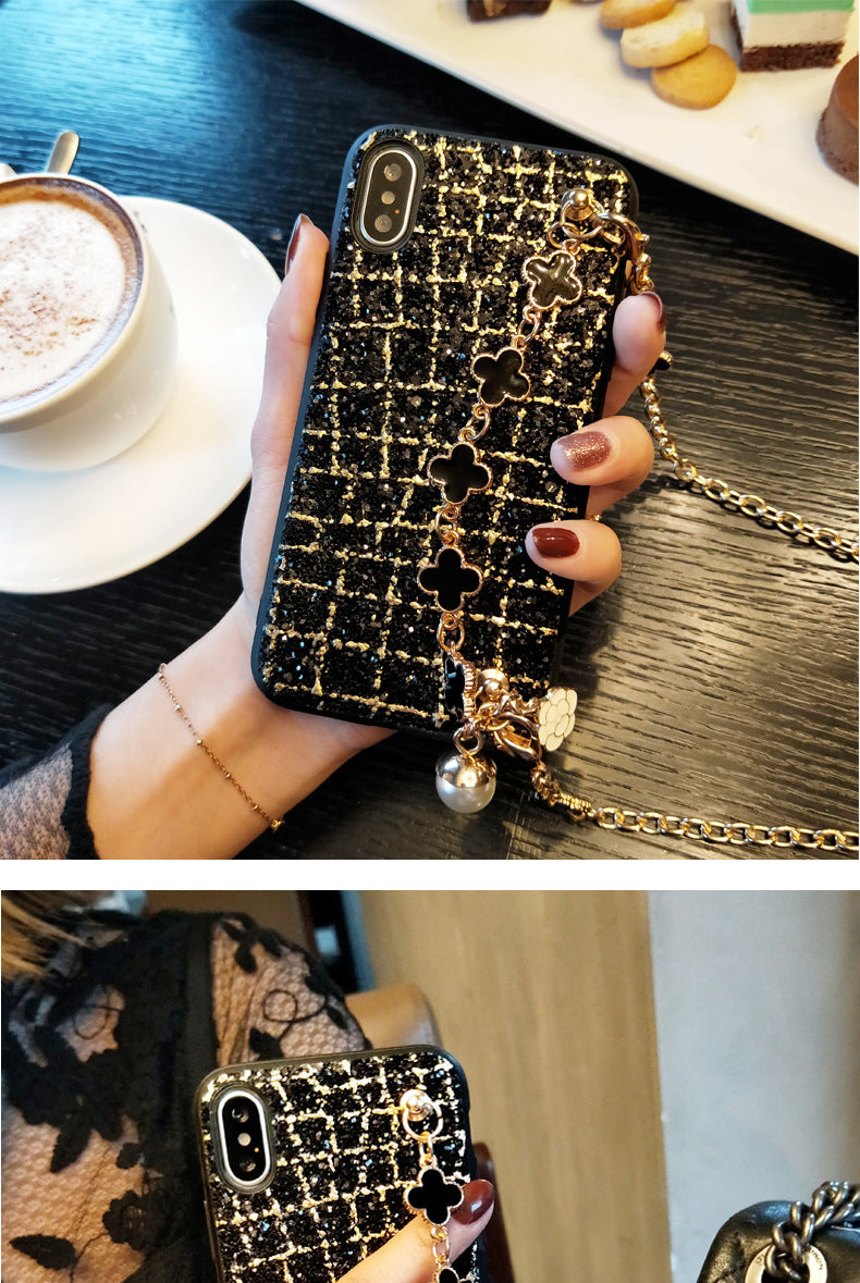 Summer new arrived Flash phone case with lucky bracelet【 FREE Oblique chain+tempered film】