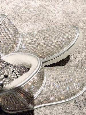 Christmas Last Day Promotion-Sheep Fur Rhinestone Full Diamond Waterproof Shoes Boots(Buy 2 free shipping)