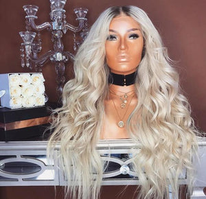 "24"" NEW Curly Platinum  Long Wigs"
