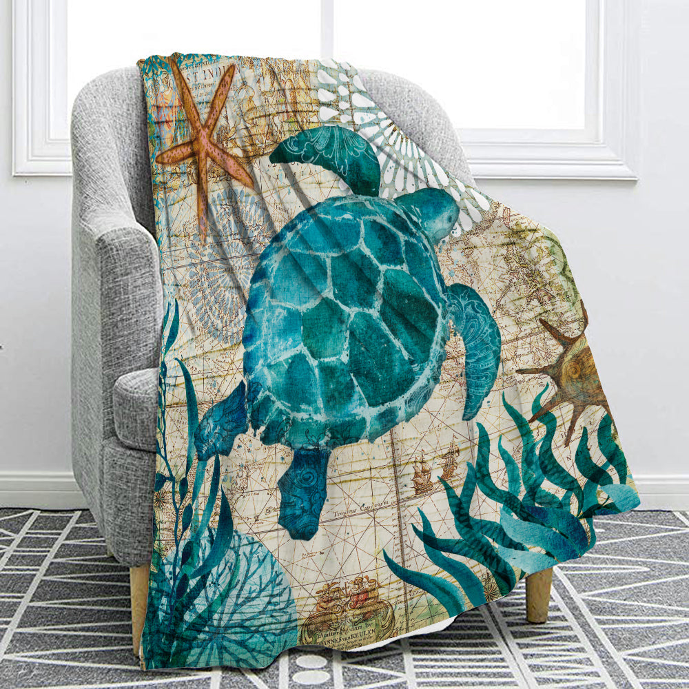 Mediterranean Sea Life Print Fleece Throw Blanket