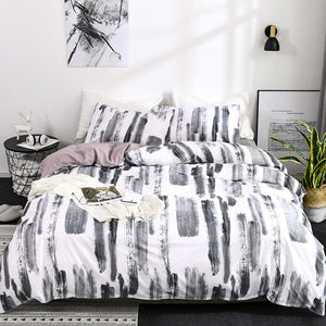 Black & White 3-Piece Abstract Stripe Pattern Duvet Set