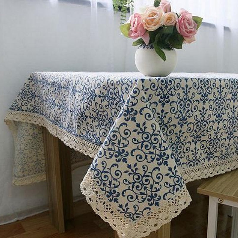 Vintage Blue Floral Pattern Cotton Linen Tablecloth w/ Lace