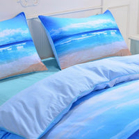 3-Piece Beach Print Duvet Cover / Bedding Set