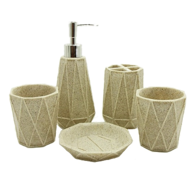 5-Piece Diamond Pattern Resin Bathroom Accessory Set