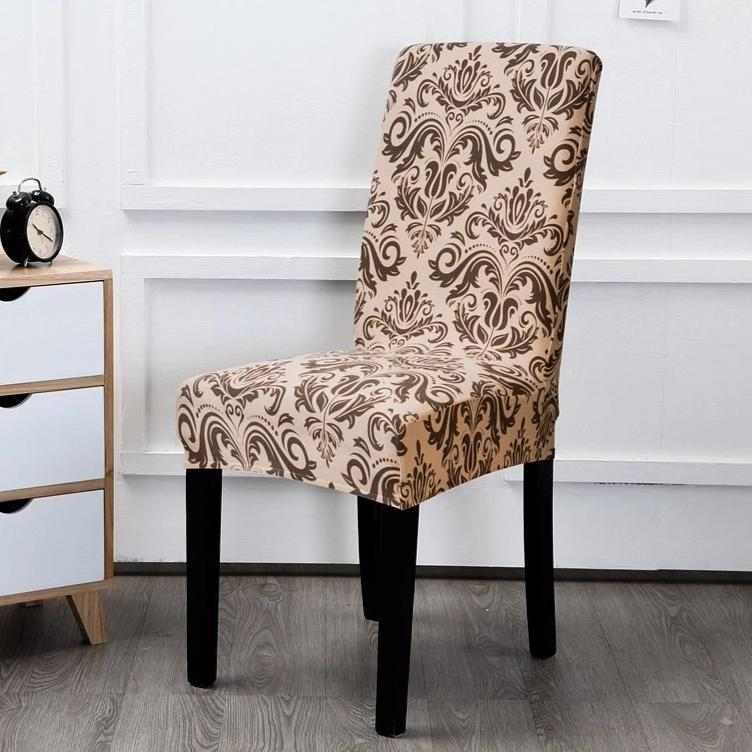Beige Floral Damask Pattern Dining Chair Cover