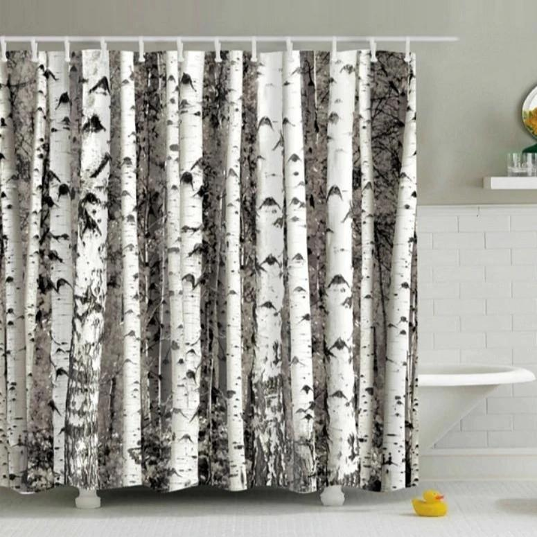 Black & White Birch Tree Print Bathroom Shower Curtain