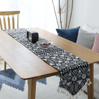 Black Geometric Bohemian Pattern Cotton Linen Table Runner