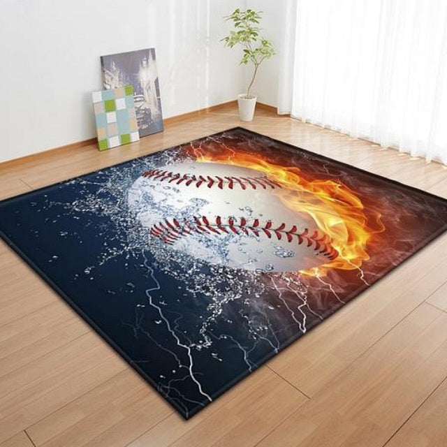 Black Flaming Baseball Print Area Rug Floor Mat