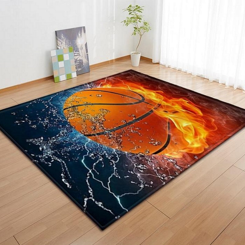 Black Flaming Basketball Print Area Rug Floor Mat