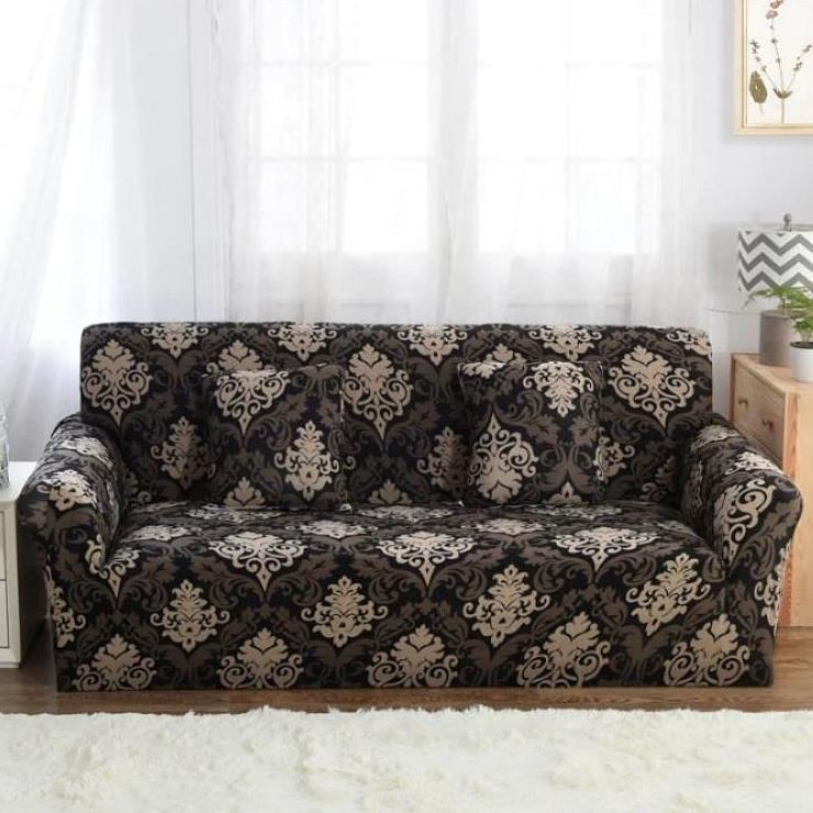 Awesome Black Gold Floral Damask Pattern Sofa Couch Cover Pabps2019 Chair Design Images Pabps2019Com
