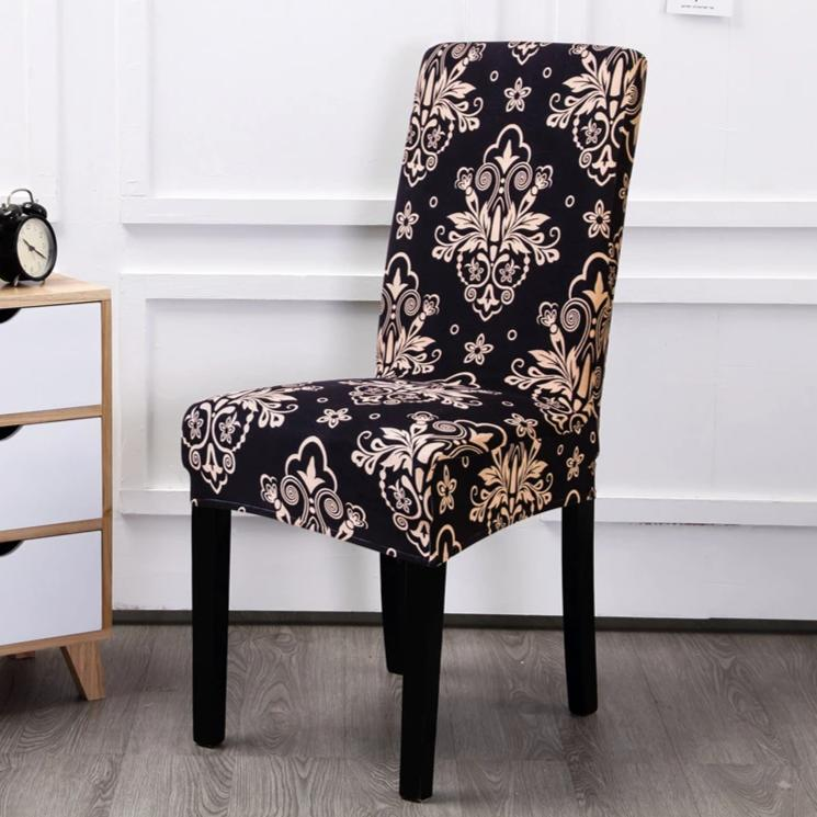 Black Floral Motif Pattern Dining Chair Cover
