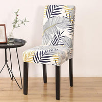 Black & Gold Palm Leaf Pattern Dining Chair Cover