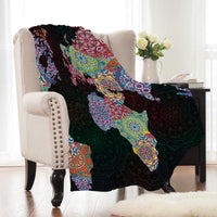 Black Rainbow Mandala World Map Fleece Throw Blanket