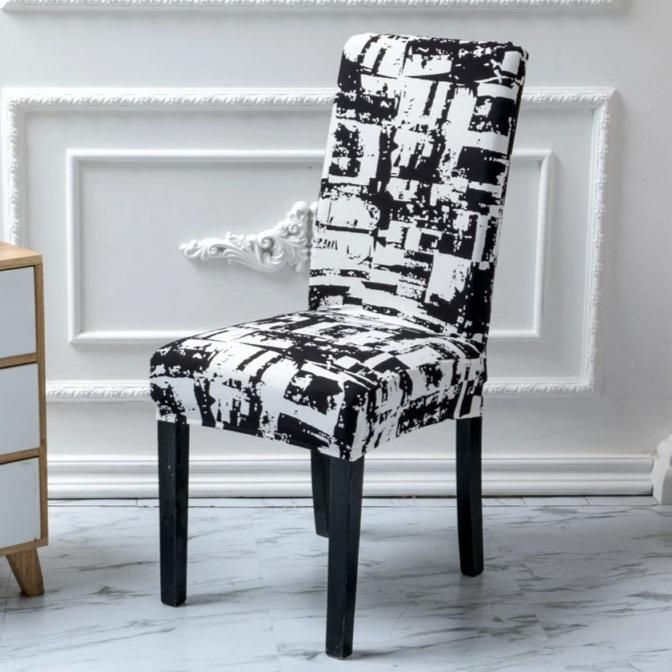 Black & White Abstract Retro Print Dining Chair Cover