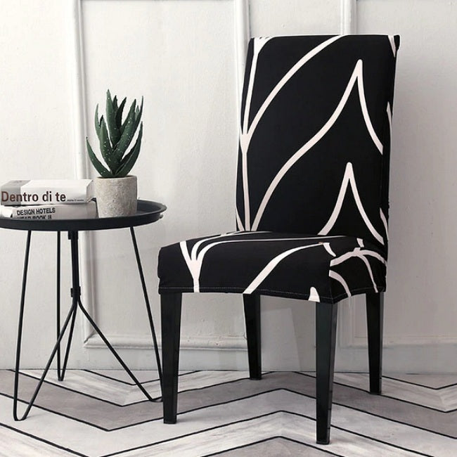 Black & White Abstract Stripe Dining Chair Cover
