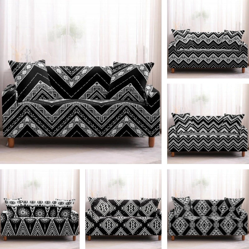 Black & White Geometric Bohemian Sofa Couch Cover