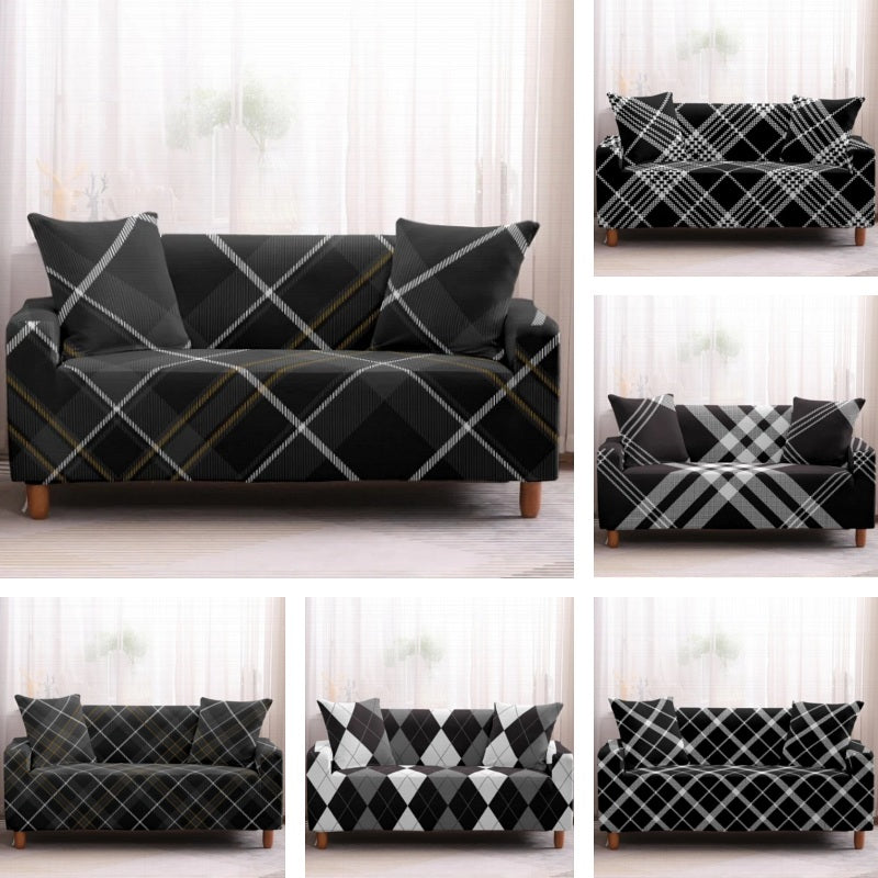 Black & White Striped Plaid Pattern Sofa Couch Cover