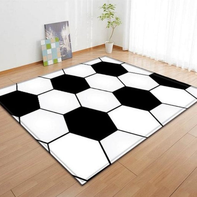 Black & White Soccer Ball Pattern Area Rug Floor Mat
