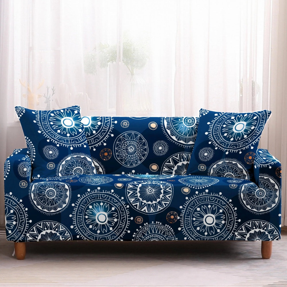 Blue Bohemian Medallion Pattern Sofa Couch Cover