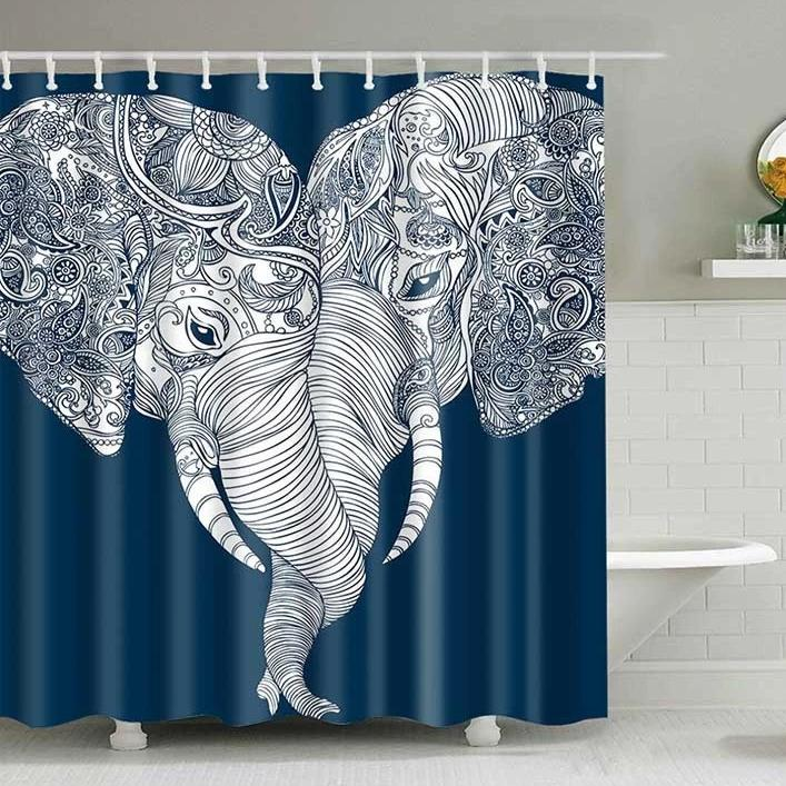 Blue & White Boho Elephant Love Bathroom Shower Curtain