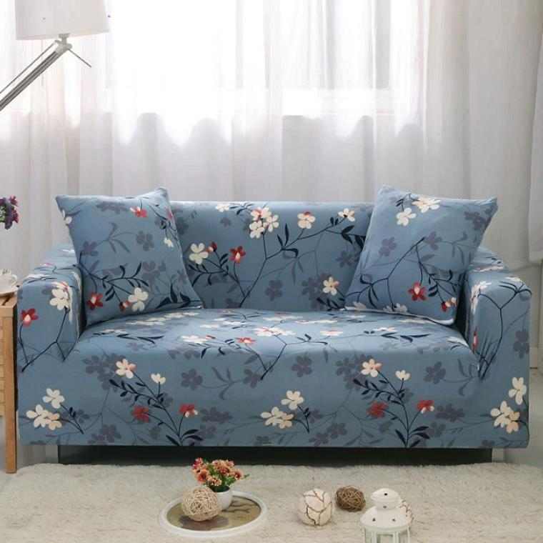 Blue Floral Branch Pattern Sofa Couch Cover