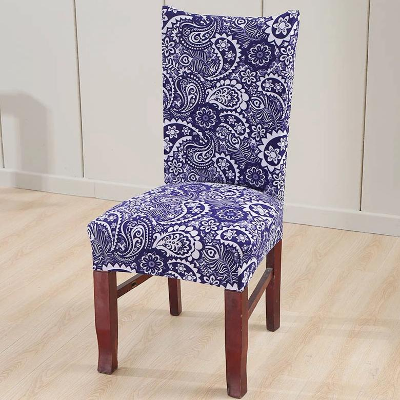 Blue Floral Paisley Pattern Dining Chair Cover