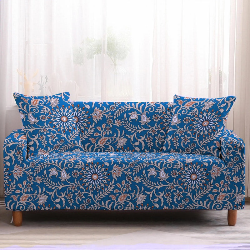 Blue & Gold Bohemian Floral Pattern Sofa Couch Cover