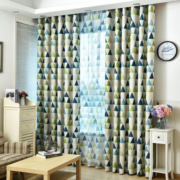 Green / Blue Geometric Triangle Pattern Window Curtains