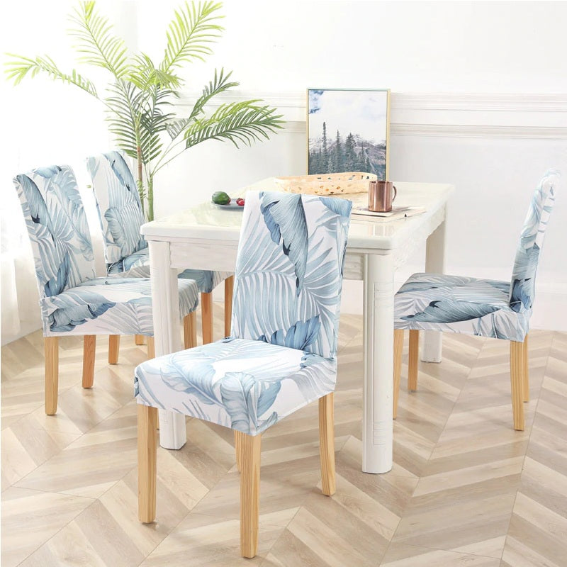 Light Blue Palm Leaf Print Elastic Dining Chair Cover Decorzee