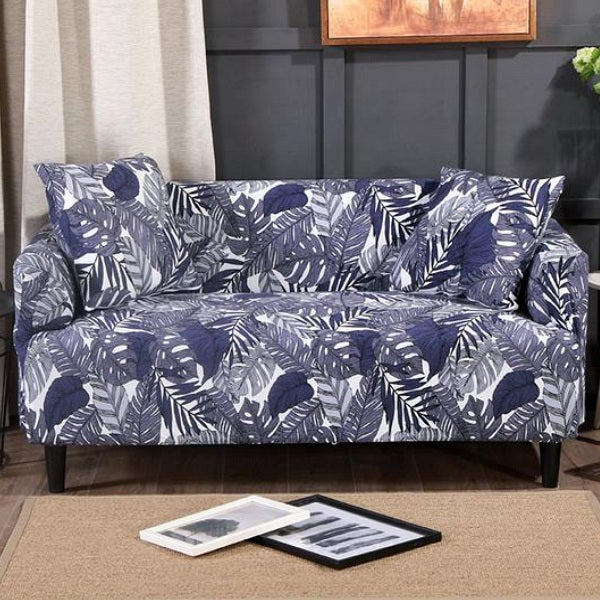 Superb Blue Tropical Palm Leaf Pattern Sofa Couch Cover Bralicious Painted Fabric Chair Ideas Braliciousco