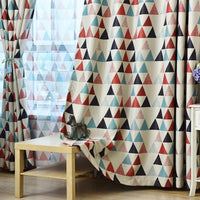 Red / Blue Geometric Triangle Pattern Window Curtains