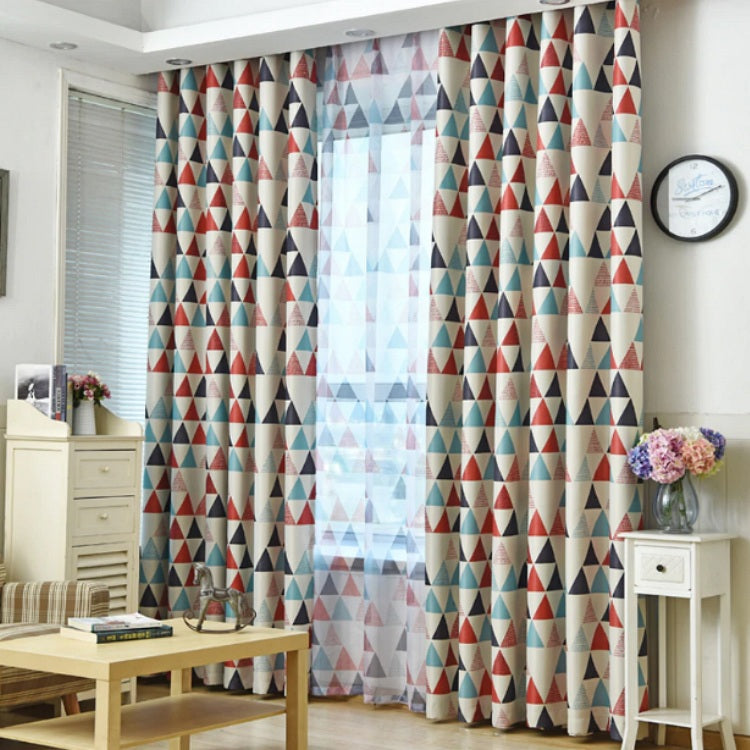 Red / Blue Geometric Triangle Pattern Window Curtains – Decorzee