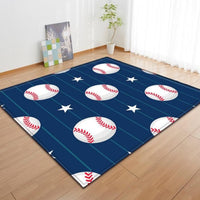 Kids Blue Striped Baseball Pattern Area Rug Floor Mat