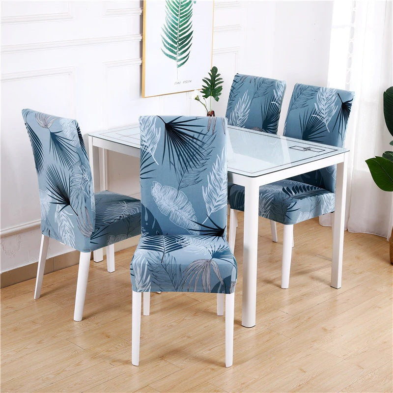 Blue Tropical Palm Leaf Pattern Dining Chair Cover