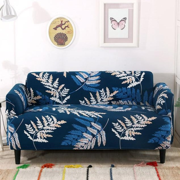Blue Tropical Fern Leaf Pattern Sofa Couch Cover