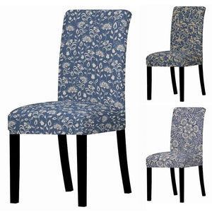Blue Vintage Floral Pattern Dining Chair Cover