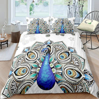 White 2/3-Piece Bohemian Peacock Duvet Cover Set