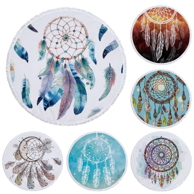 Round Boho Dreamcatcher Print Beach Towel