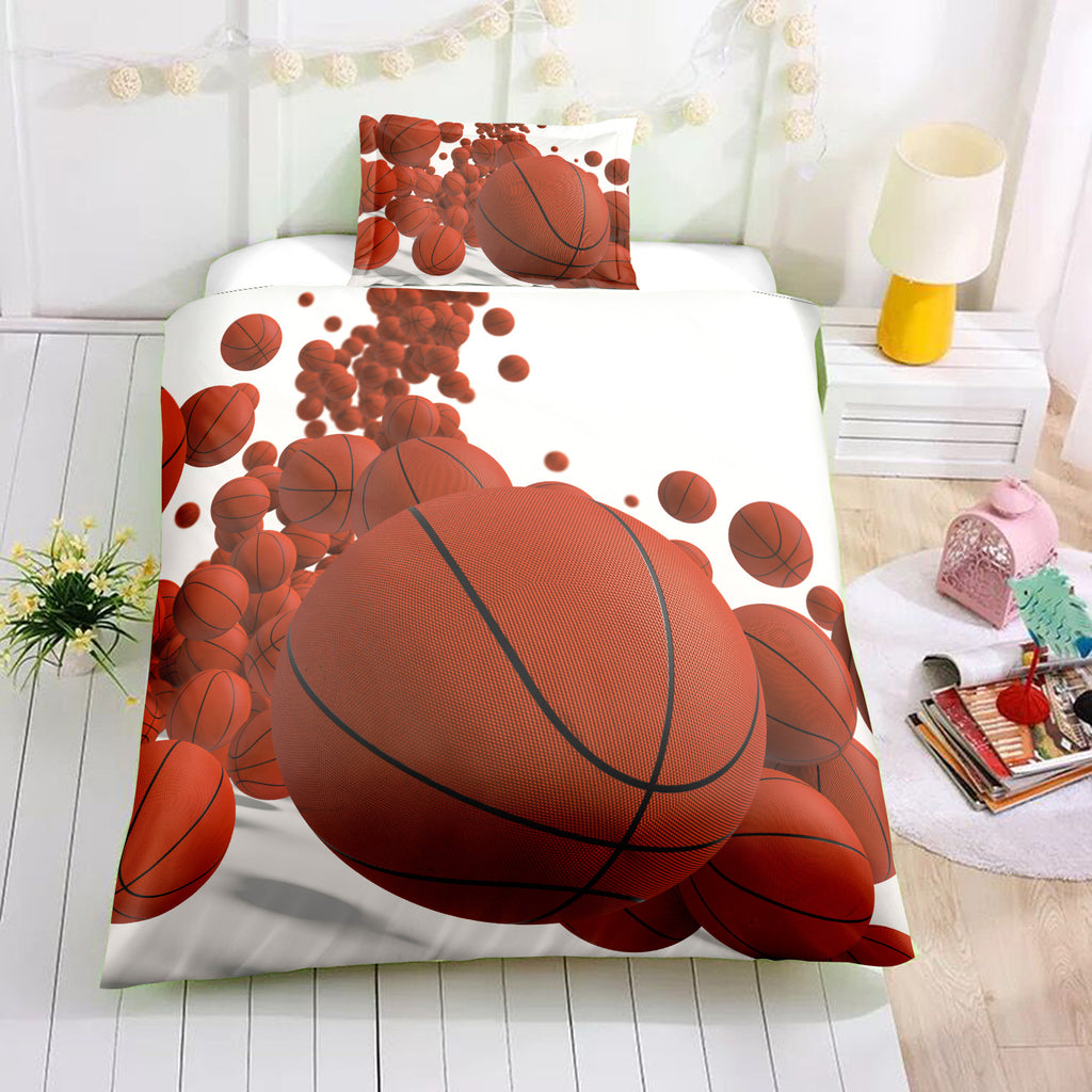 White 2/3-Piece Bouncing Basketball Duvet Cover Set
