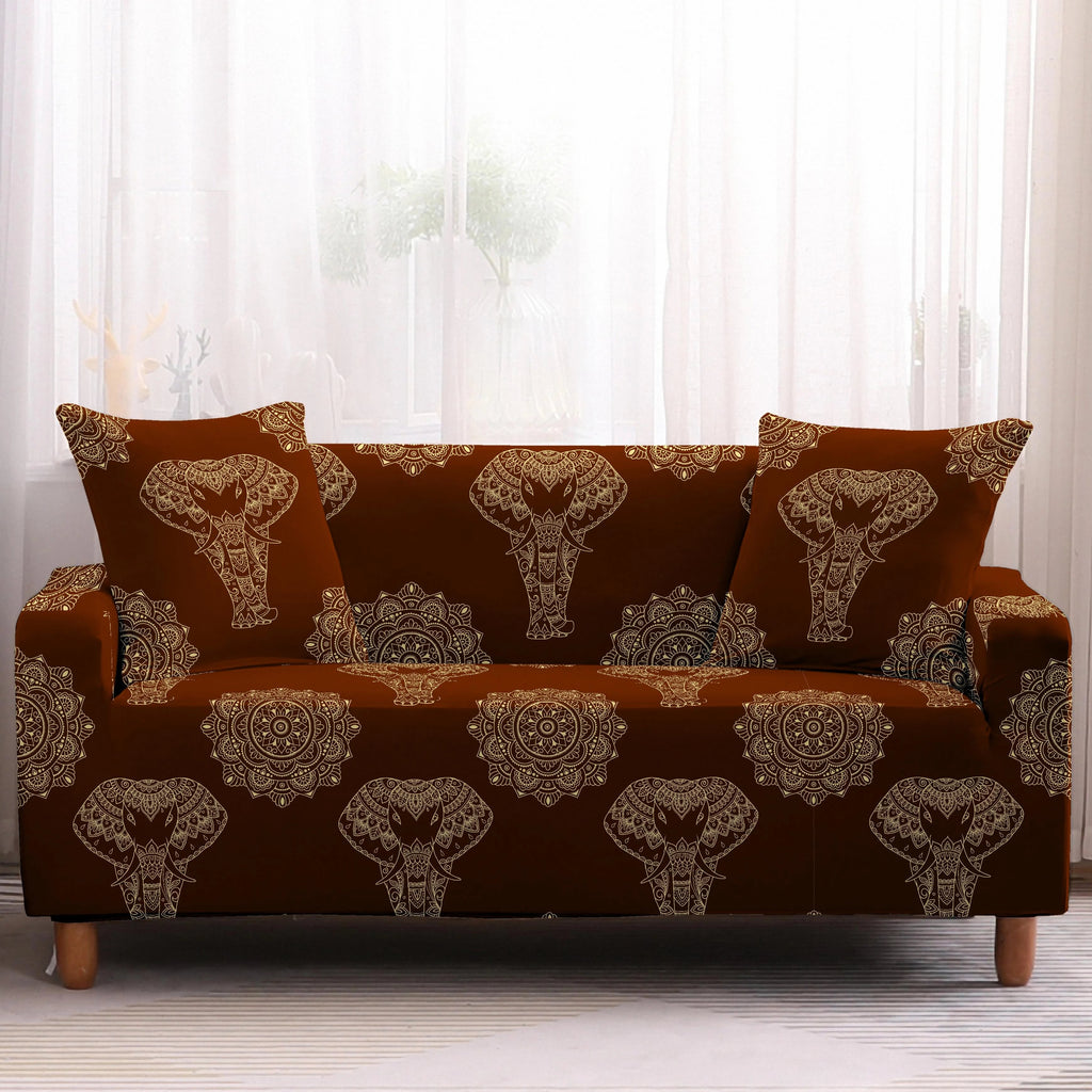 Dark Bronze Bohemian Elephant Pattern Sofa Couch Cover