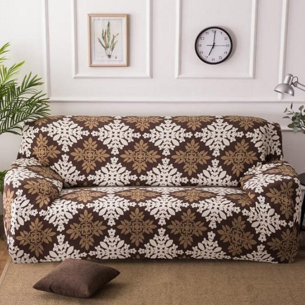 Brown / White Floral Medallion Pattern Sofa Couch Cover