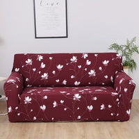 Burgundy Cherry Blossom Pattern Sofa Couch Cover