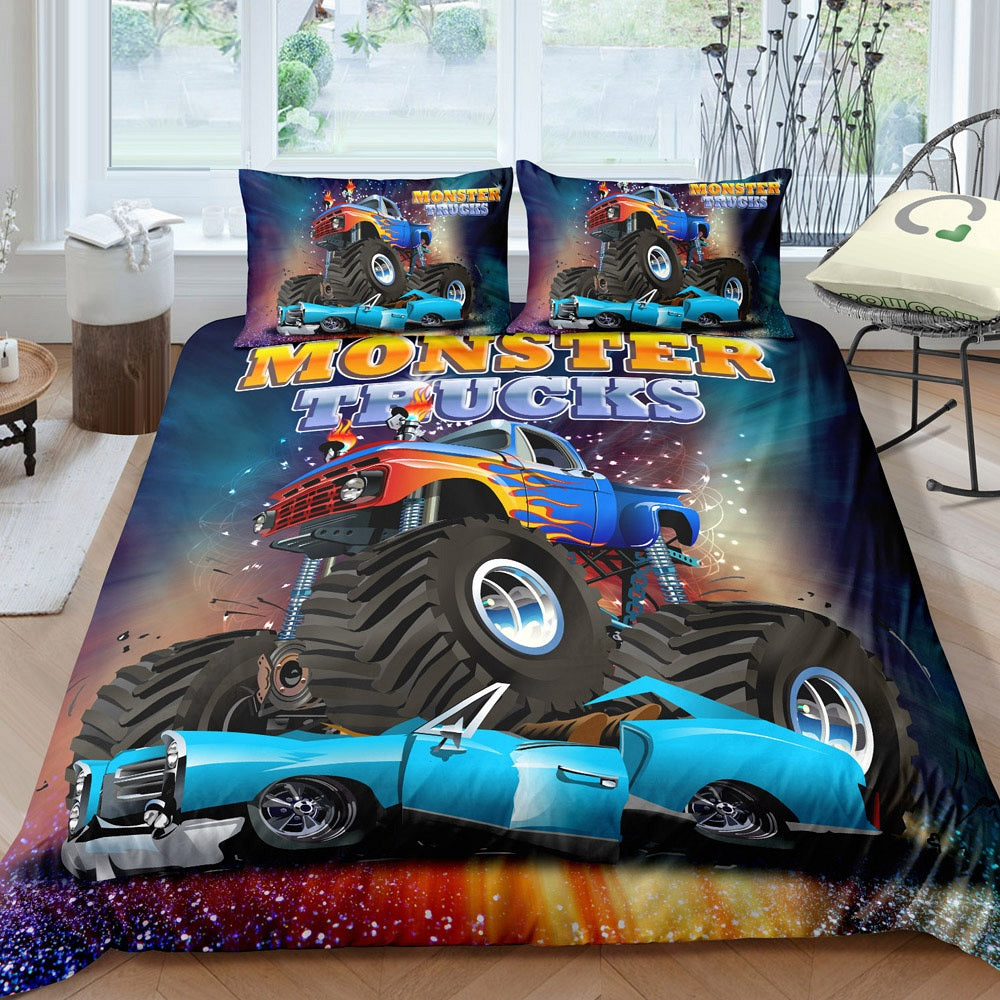 2/3-Piece Car Crushing Monster Truck Duvet Cover Set